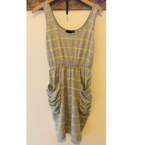 Aqua ruched pocket stripe dress